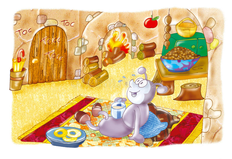 De Mier en de Sprinkhaan stock illustratie