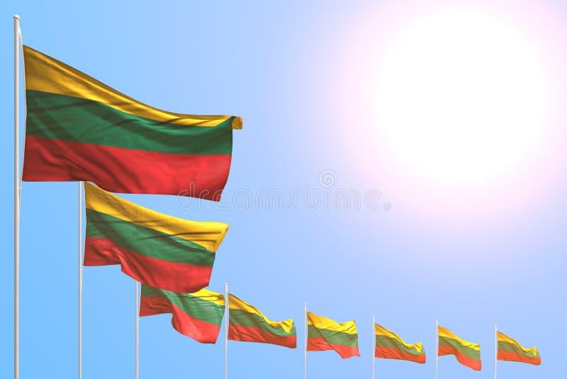 De mignons drapeaux lituaniens placés en diagonale sur le ciel bleu avec de l'espace pour votre texte - n'importe quel drapeau de illustration stock