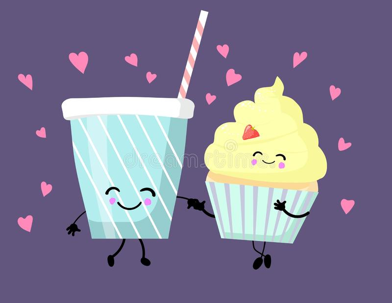 De mignons personnages caricaturaux de fast-food isolés sur des blancs : muffin ou cupcake, milk-shake illustration stock