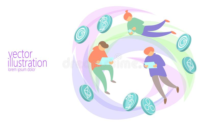 De mijnbouwconcept van de menseninvestering bitcoin De diverse online financiën van mensencryptocurrency betalen Web Internet-de  stock illustratie