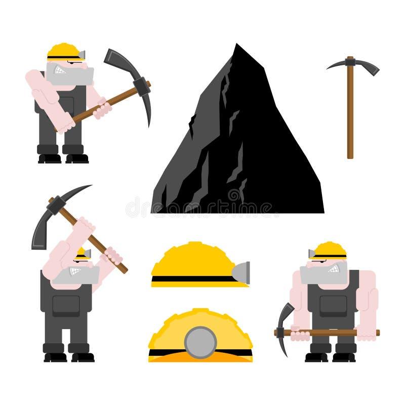 De mijnbouwreeks van de mijnwerkersarbeider collier met pikhouweel Pitman is op het werk stock illustratie