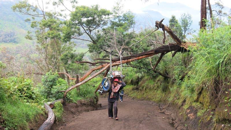De mijnwerker draagt de kar tot de bovenkant van de actieve vulkaan van Kawah Ijen stock afbeelding