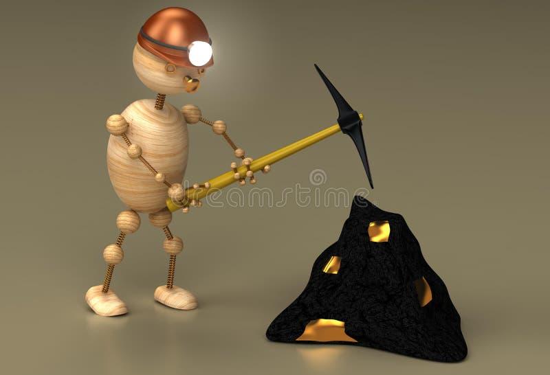 De mijnwerkers houten man vector illustratie