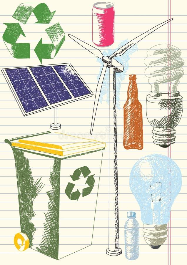 De milieu Tekeningen van het Behoud royalty-vrije illustratie