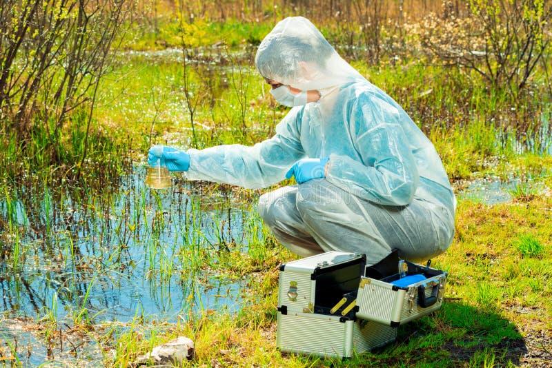 de milieudeskundige op de kust van een bosmeer neemt watersteekproeven na milieu royalty-vrije stock afbeeldingen