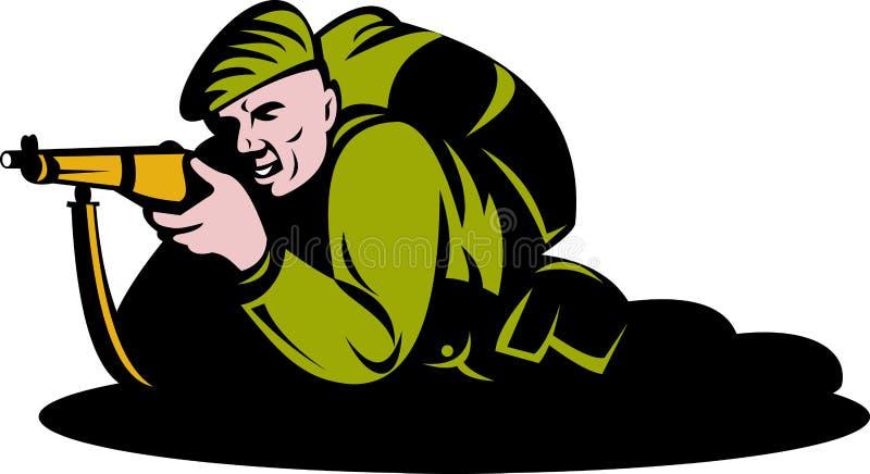 De militair die van het commando geweer streeft royalty-vrije illustratie