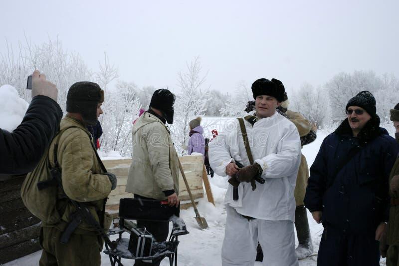 De militair-historische wederopbouw de 'Doorbraak van de blokkade van Leningrad op het gebied van Nevskaya Dubrovka 'was gehouden royalty-vrije stock afbeeldingen