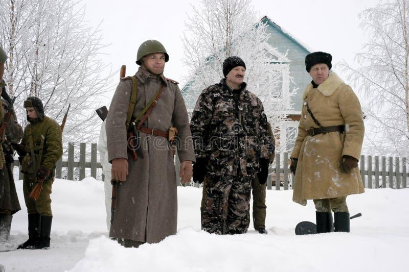 De militair-historische wederopbouw de 'Doorbraak van de blokkade van Leningrad op het gebied van Nevskaya Dubrovka 'was gehouden royalty-vrije stock fotografie