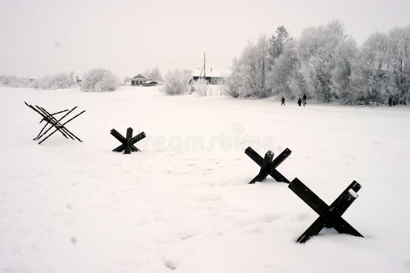 De militair-historische wederopbouw de 'Doorbraak van de blokkade van Leningrad op het gebied van Nevskaya Dubrovka 'was gehouden royalty-vrije stock foto
