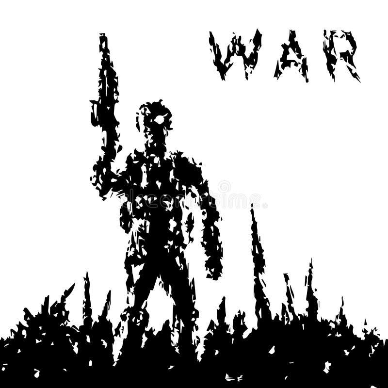 De militair houdt tegen het vat van het aanvalsgeweer Vector illustratie stock illustratie