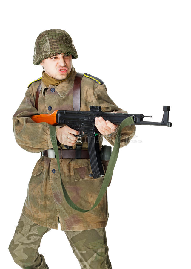 De militair ontspruit machinepistool stock fotografie