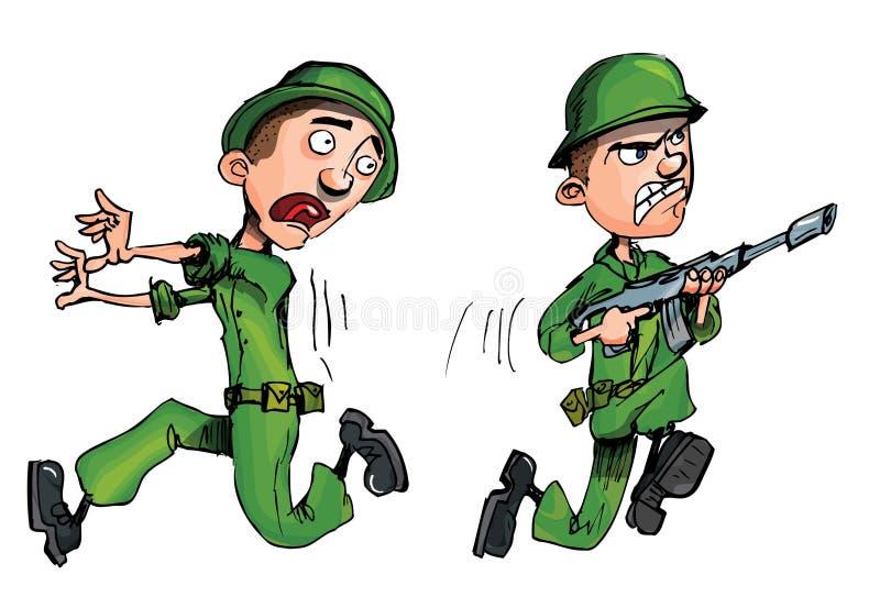 De militair van Carging en een vluchtende militair royalty-vrije illustratie