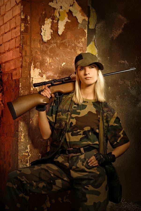 De militair van de vrouw stock foto