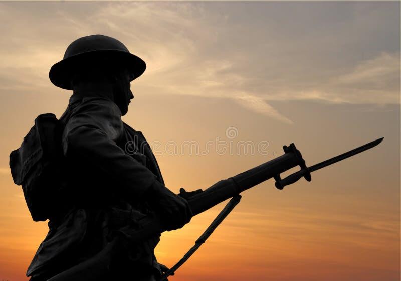 De Militair van de zonsondergang stock fotografie