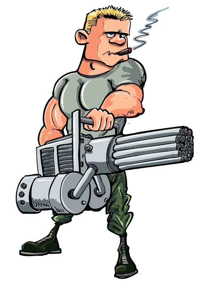 De militair van het beeldverhaal met een minikanon vector illustratie