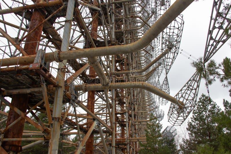 De militaire antenne is in de de uitsluitingsstreek van Tchernobyl stock foto's