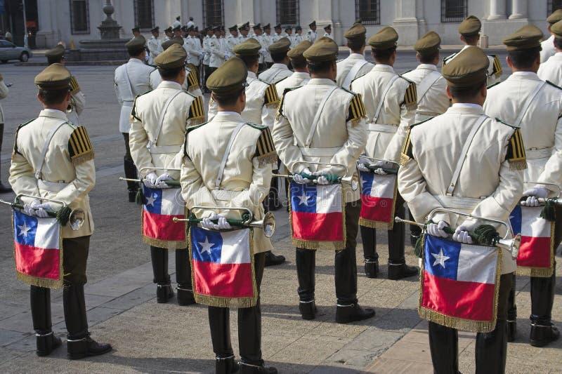 De militaire Band Santiago doet Chili stock foto