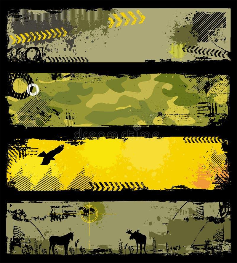 De Militaire banners van Grunge royalty-vrije illustratie