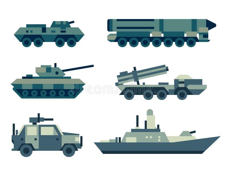De militaire geplaatste technieken van legermachines vector illustratie