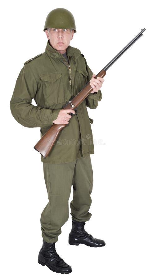 De militaire Legermilitair met Retro WO.II kijkt Geïsoleerd stock fotografie