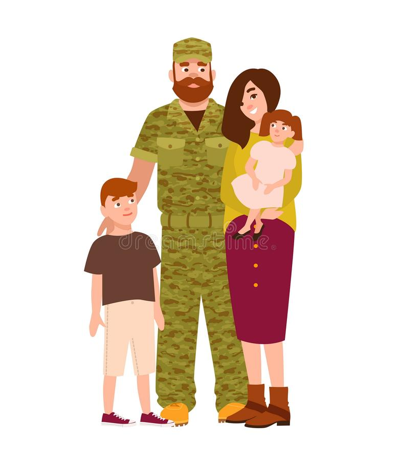 De militaire mens, de militair of de militair kleedden zich in camouflageclothi stock illustratie