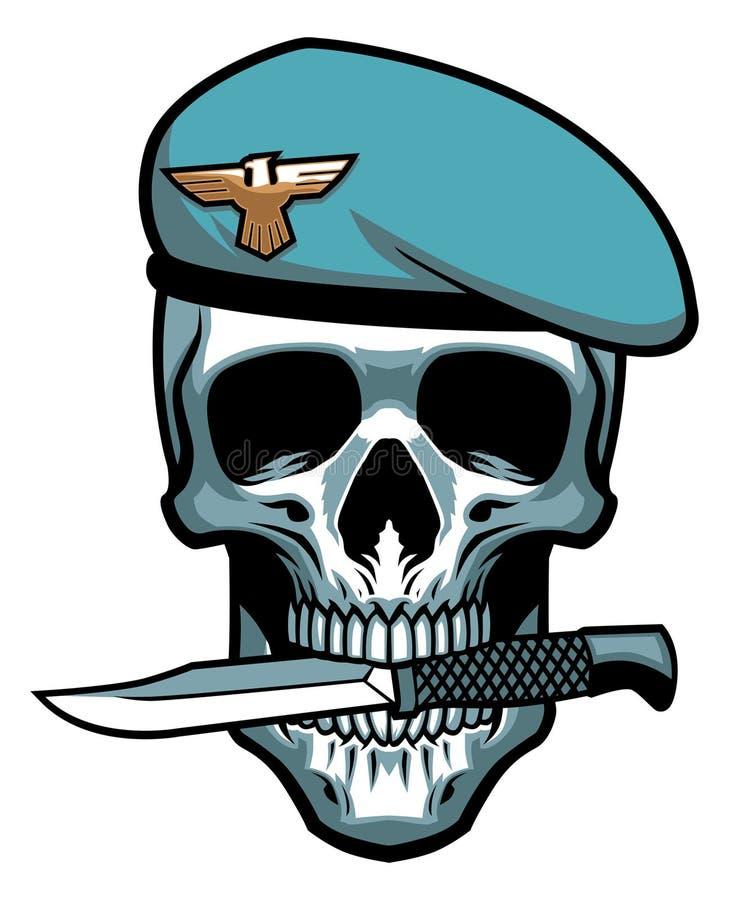 De militaire schedel bijt een dolk stock illustratie