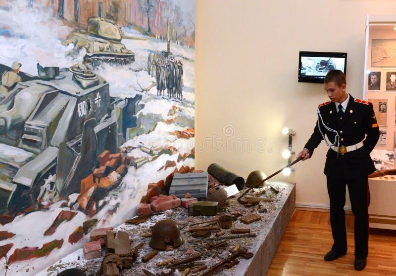 De militaire school van kadetnovocherkassk Suvorov van het Ministerie van interne Zaken van de Russische Federatie in de Museumsc stock foto's