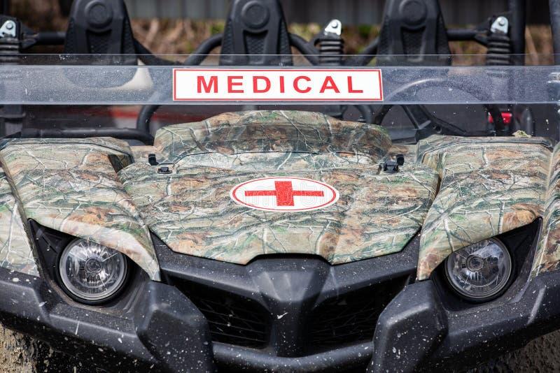 De militaire ziekenwagen dichte eerlijke mening stock foto
