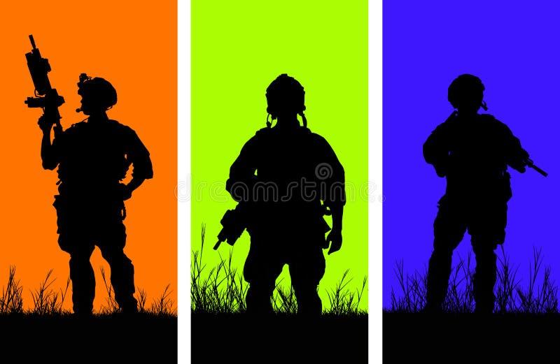 De militairen bewogen zich voorzichtig door het hout royalty-vrije illustratie