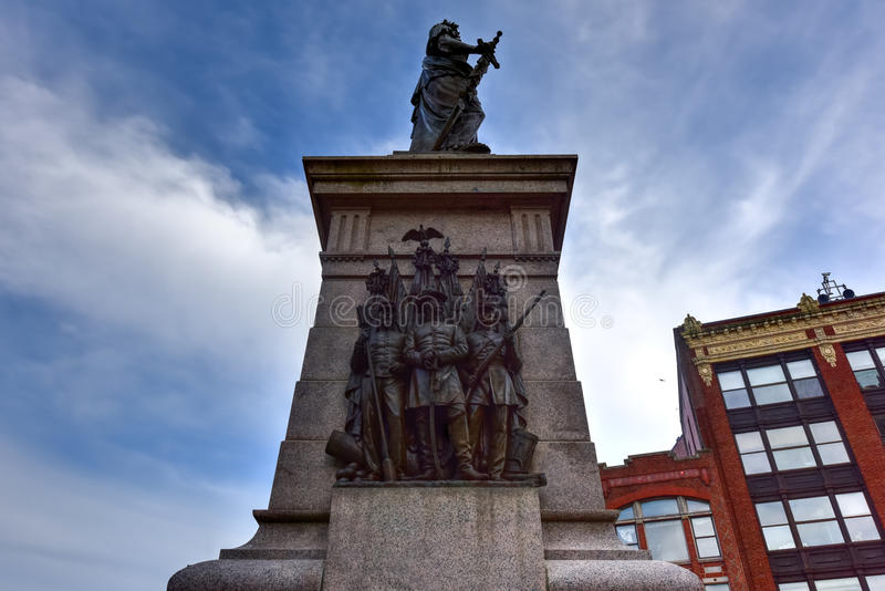 De Militairen en de Zeeliedenmonument van Portland - Maine stock afbeeldingen