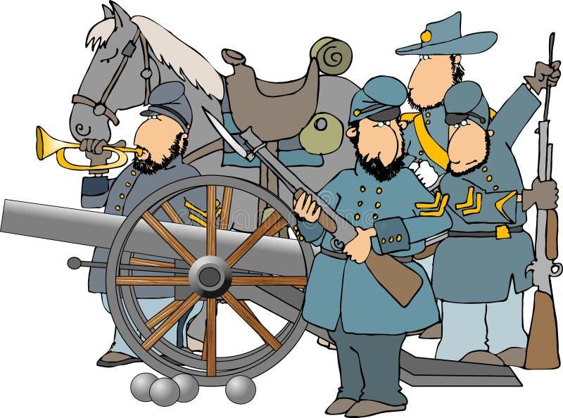 De militairen en het kanon van de Burgeroorlog royalty-vrije illustratie