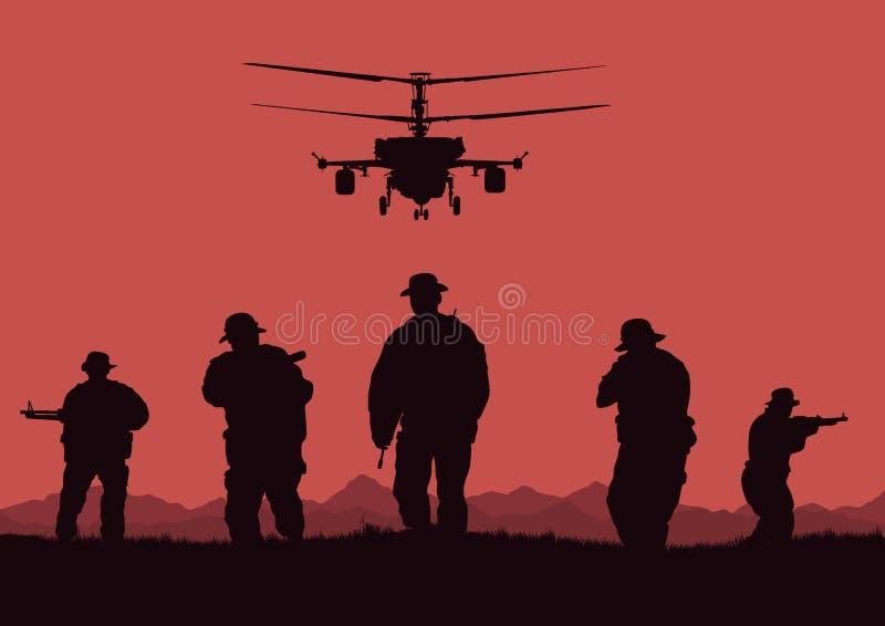 de militairen gaan aanvallen en helikopters die vector illustratie
