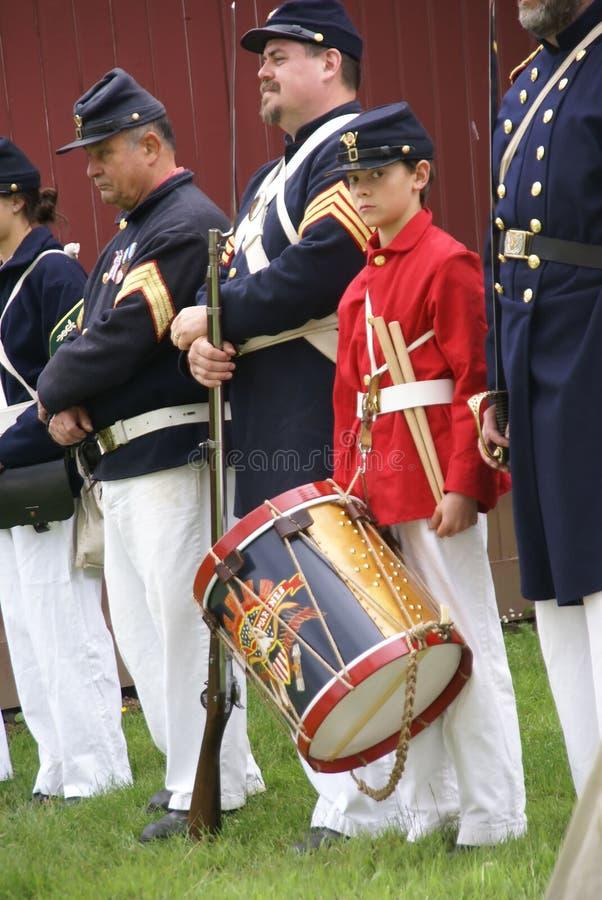 De militairen van de Unie en slagwerkerjongen stock foto's