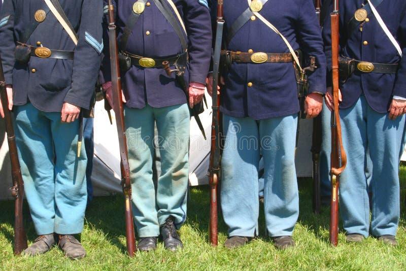 De Militairen van de Unie--Het Weer invoeren van de Burgeroorlog stock foto's