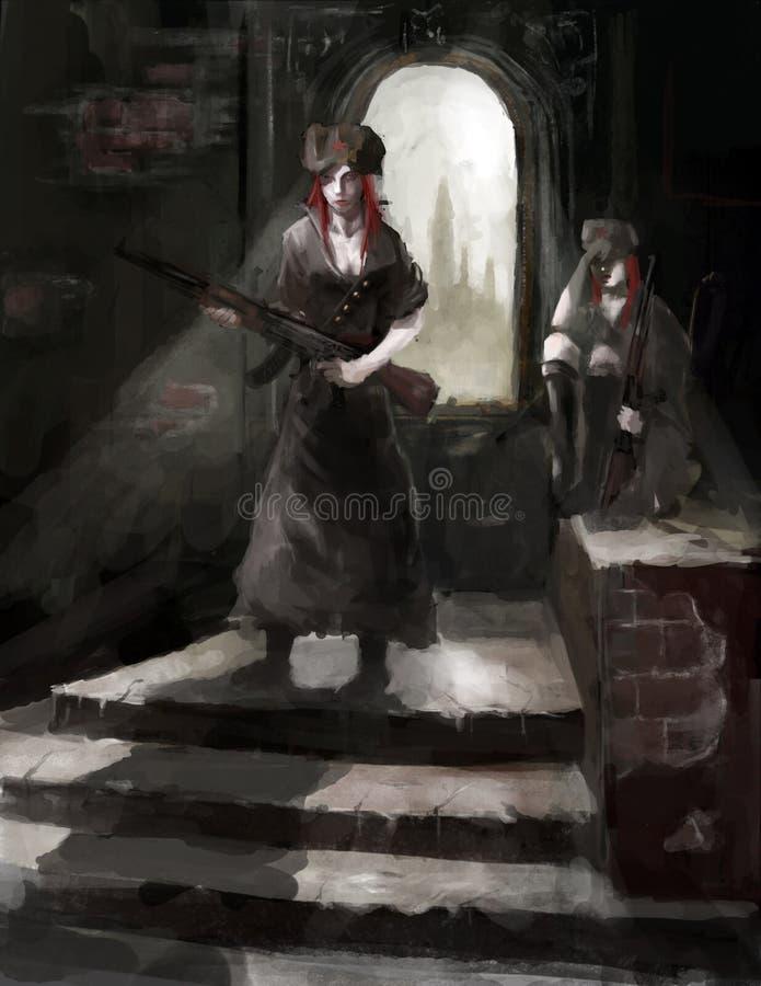 De militairen van meisjes royalty-vrije illustratie