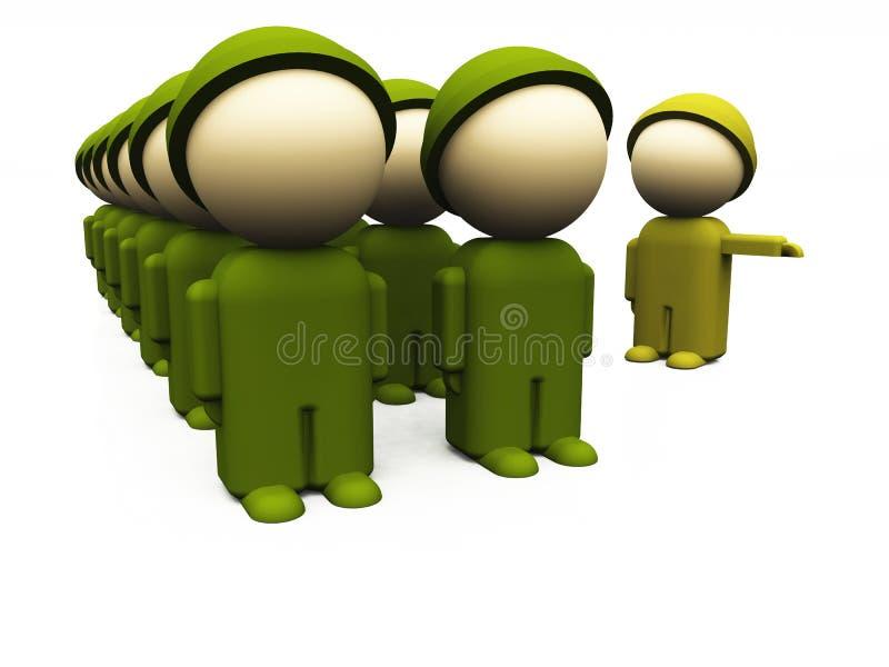 De militairen van Oliv in een rij 05 royalty-vrije illustratie