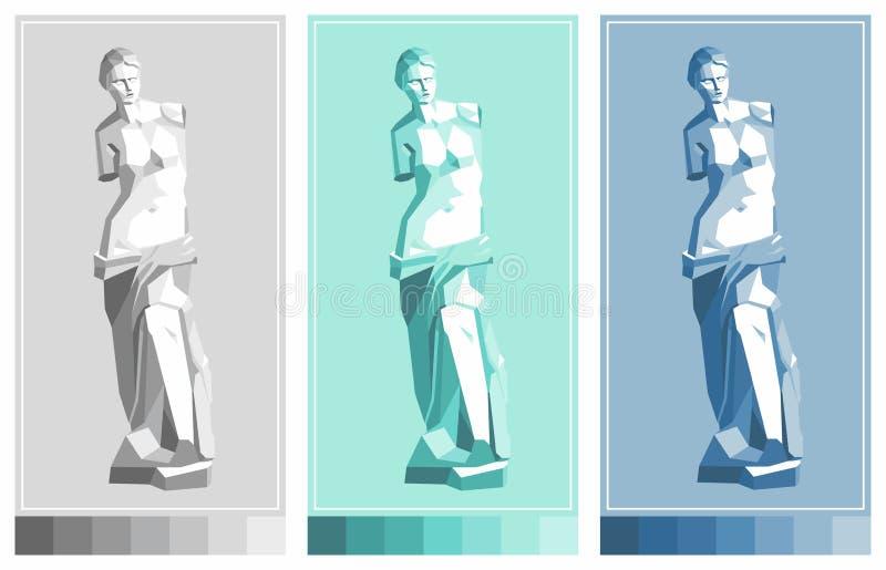 de milo statue venus Aphrodite - θεά της αγάπης διανυσματική απεικόνιση