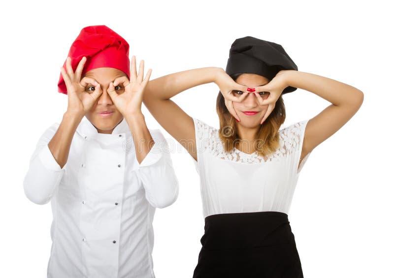 De mimische glazen van het chef-kokteam stock afbeeldingen