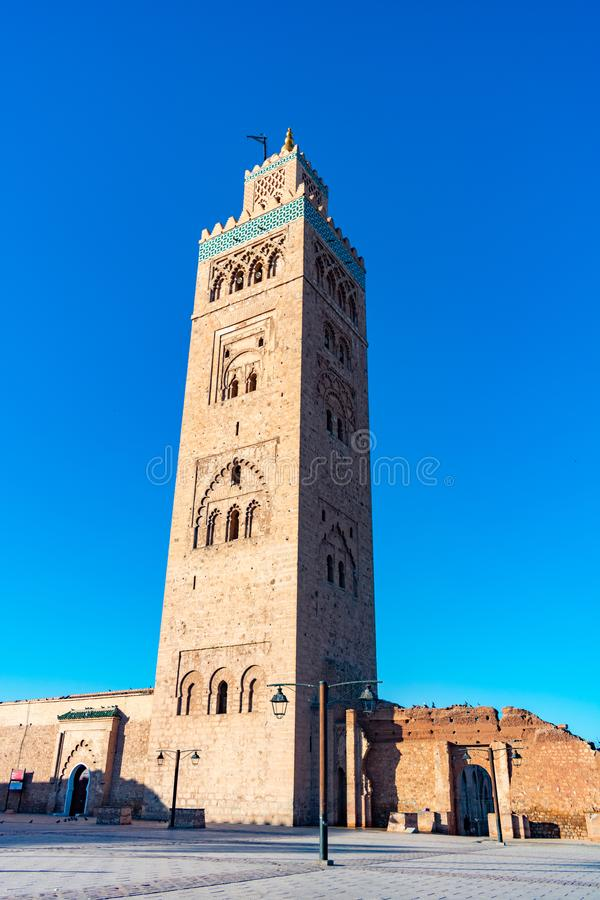 De Minaret van Koutoubia-Moskee in Marrakech Marokko stock foto