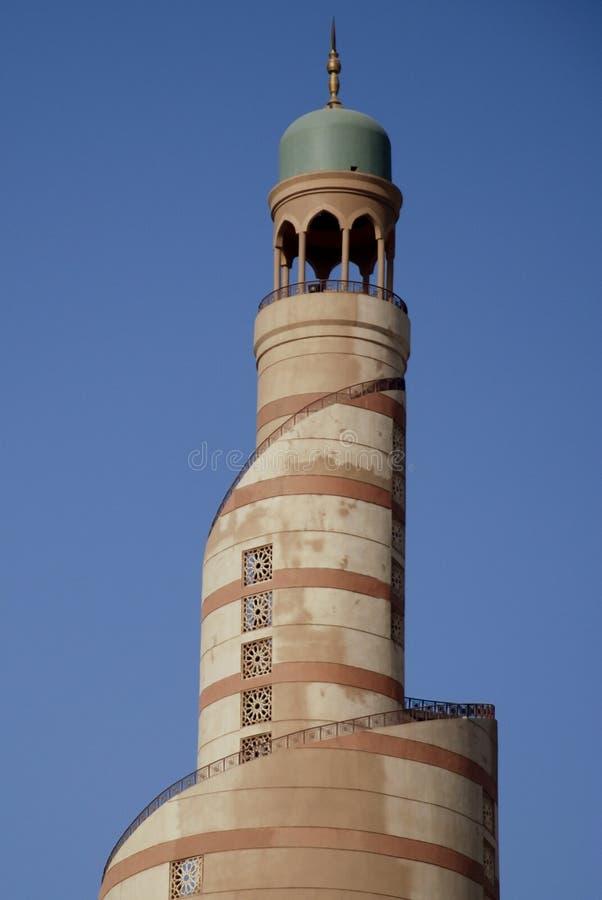 De minaretmoskee in Doha Qatar stock foto's