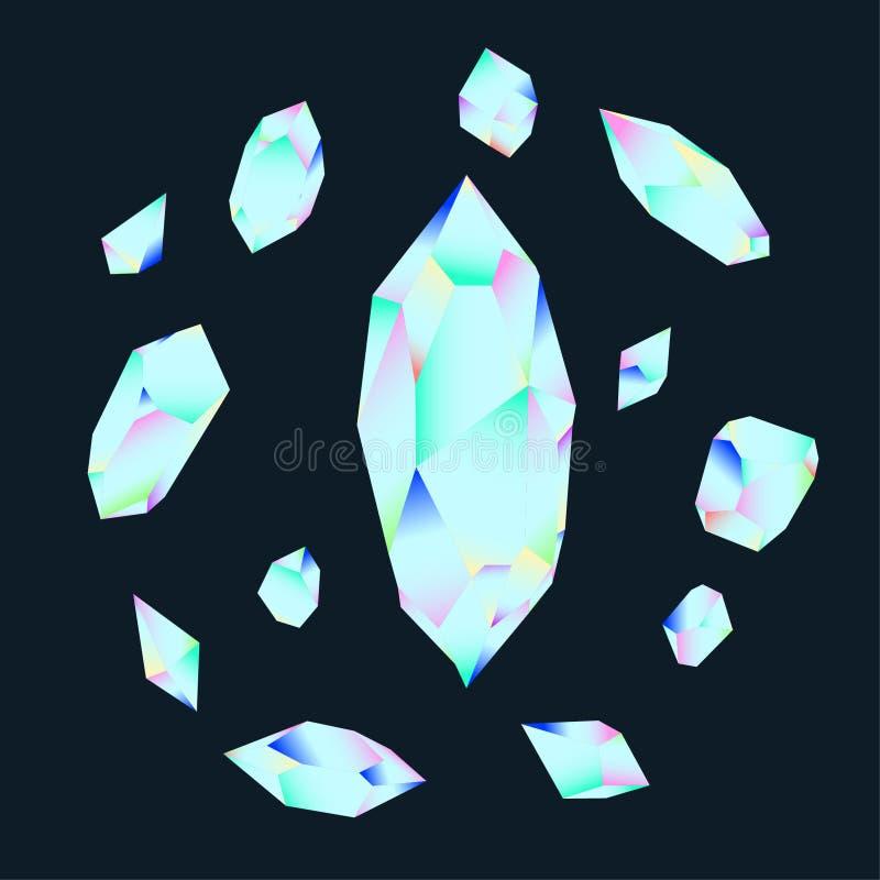 De mineralen, de Kristallen, de Gemmen, en de Diamanten isoleerden Vectorreeks vector illustratie