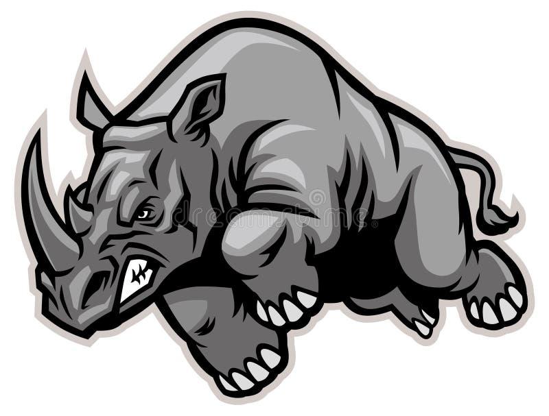 De Miniatuur van de rinoceros met Witte Achtergrond stock fotografie