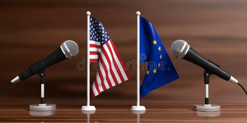 De miniatuurvlaggen van de EU en van de V.S. Kabelmicrofoons, houten achtergrond, banner 3D Illustratie vector illustratie