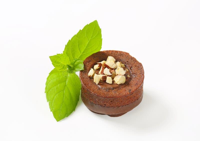 De minicake van de chocoladehazelnoot stock afbeelding