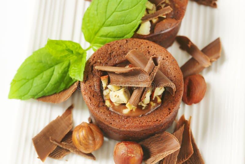 De minicake van de chocoladehazelnoot royalty-vrije stock foto's