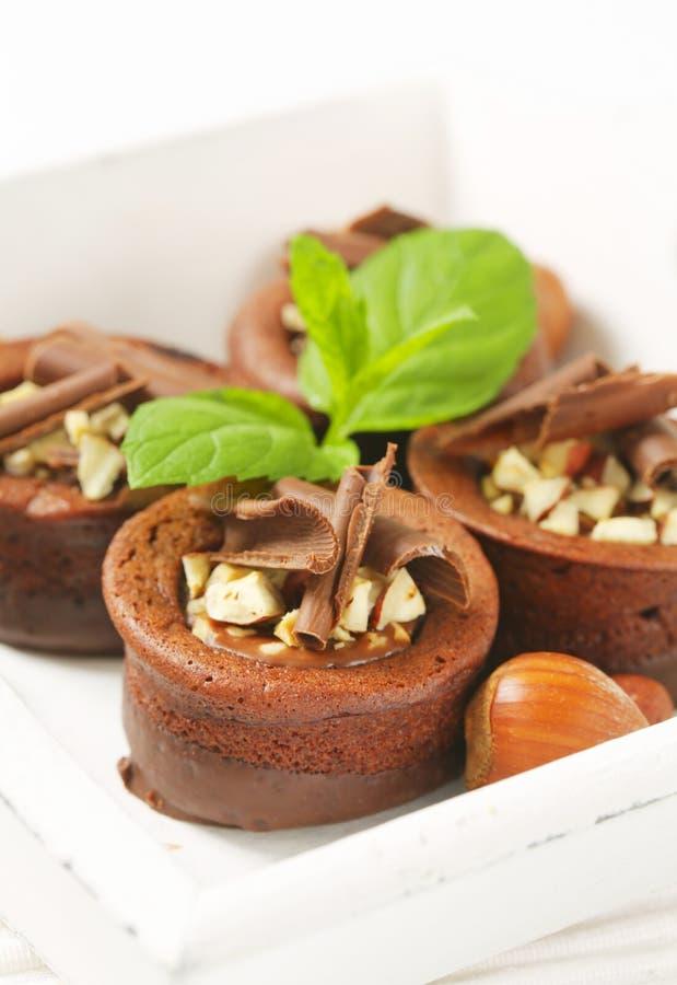 De minicakes van de chocoladehazelnoot stock foto's