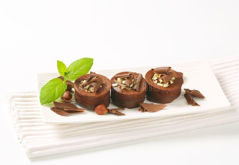 De minicakes van de chocoladehazelnoot royalty-vrije stock fotografie
