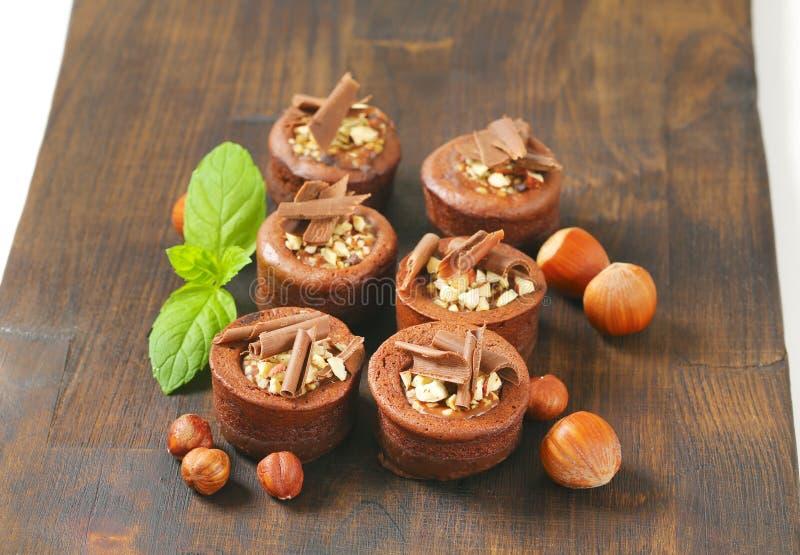 De minicakes van de chocoladehazelnoot stock fotografie