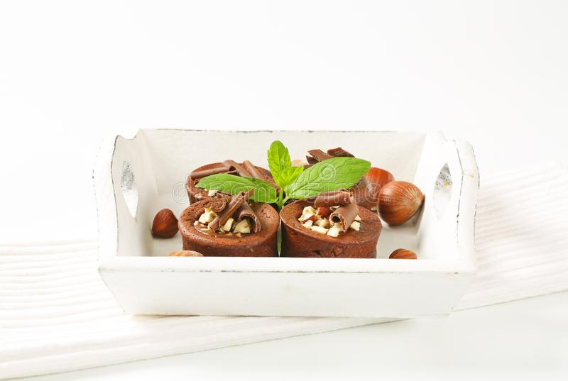 De minicakes van de chocoladehazelnoot royalty-vrije stock afbeelding