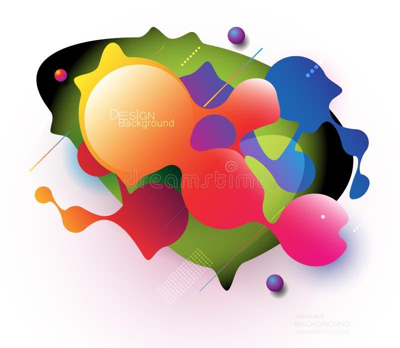 De minimale abstracte 3d kleurrijke achtergrond van de vorm vloeibare en vloeibare gradiënt voor lay-out, banner, affiche, malpla stock illustratie